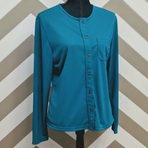 Sag Harbor Long Sleeve Button Down Blouse Small